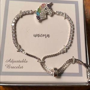 Adjustable Faux Diamond Unicorn Bracelet